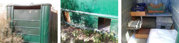 Detalle de un contenedor (sin uso) aprovechado como vivienda para gatos)