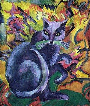Gato gris en cojín (1919)