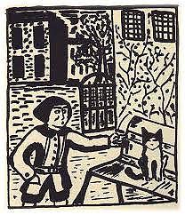 """Un dibujo del libro """"Mitsou, historia de un gato"""""""