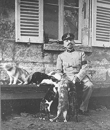 Pierre Loti dando de comer a sus gatos