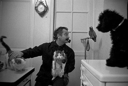 Brassens con dos gatos, un loro y un perro