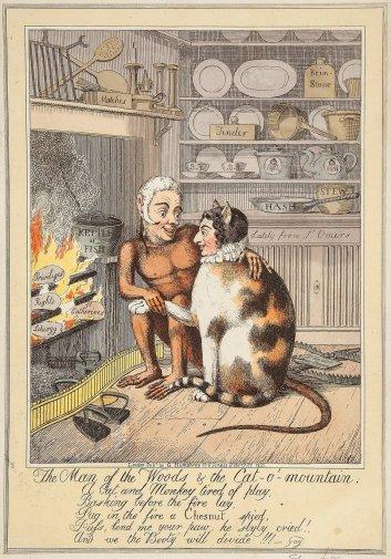 El hombre del bosque y el gato de la montaña, de Theodore Lane (1821)