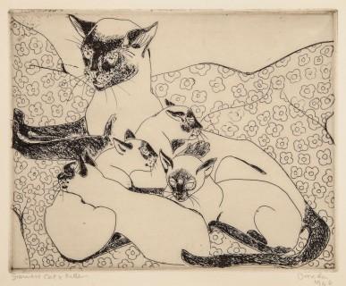 Gata siamesa y gatitos, de Orovida Camille Pissarro (1946)