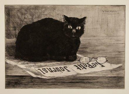 Gato negro en periódico. de Henri-Charles Guérard