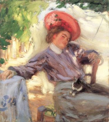 Retrato de mujer con gato