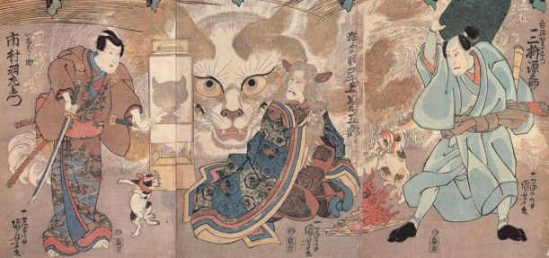 Escenas de una obra kabuki, de Utagawa Kuniyoshi