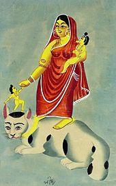La diosa Shashthi montada en un gato