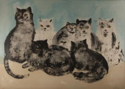 Retrato de ocho gatos