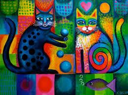 Minino malabarista y gato arcoíris