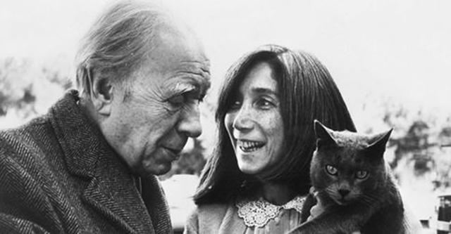 Borges, María Kodama y gato desconocido