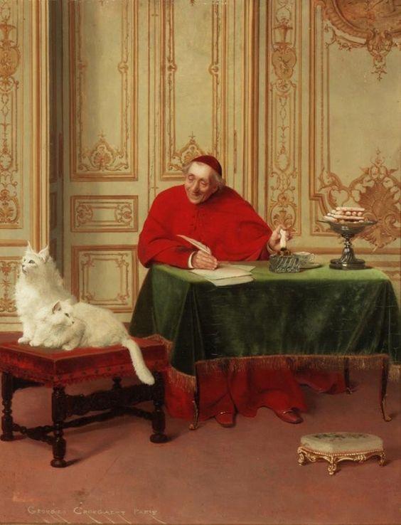 El cardenal y sus gatos persas blancos