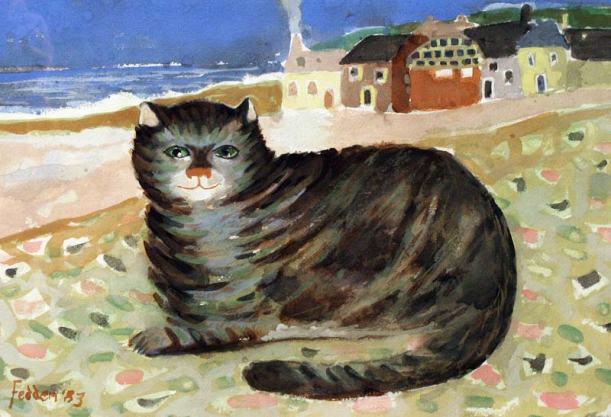 gato en playa