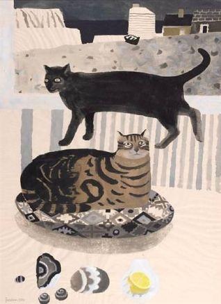 gatos a la orilla del mar