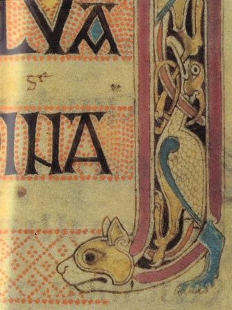 Evangelio de Lindisfarne, página de inicio de San Lucas (Capítulo 4)