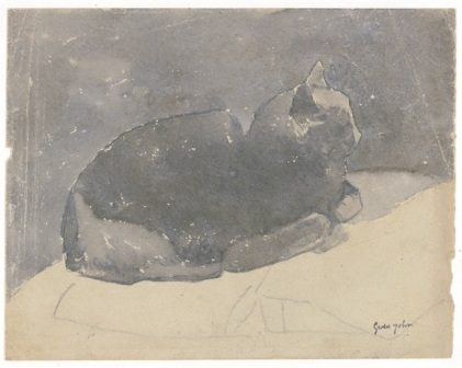 cat-studieswatercolour-and-pencil-on-paper-size-17-2cm-21-8cm-museumof-wales