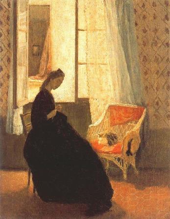 Mujer cosiendo con gato