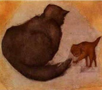 Gata y gatito, de Sir Edward Burnes-Jones