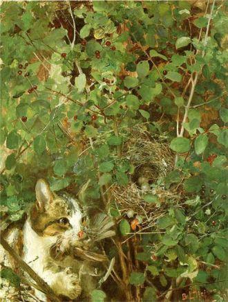 Gato cazando pájaros (1883)
