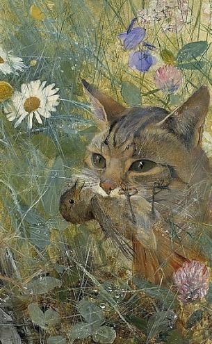 Gato con pájaro (1885)