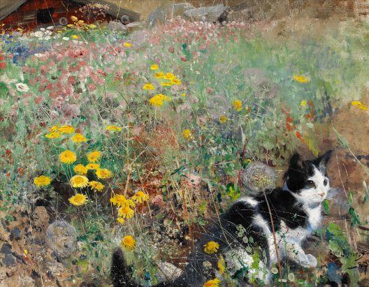 Gato entre flores (1887)