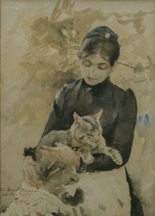 Mujer sentada con gato (1886)